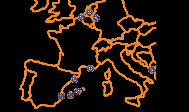 RibEvents vaargebied in Europa