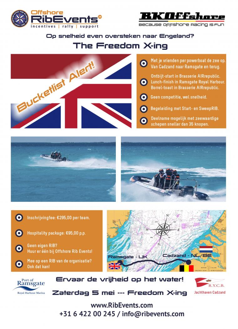 Zaterdag 5 Mei: Freedom X-ing, de snelle RIB oversteek van Cadzand naar Ramsgate, Engeland